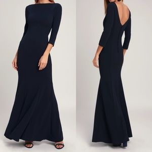 Glamour Galore Navy Blue Button Back Maxi Dress
